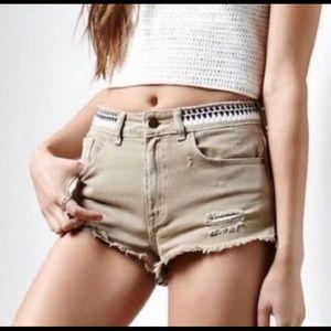 PS ERIN WASSON Khaki Distressed Shorts